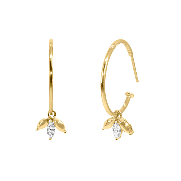 hoop earrings marquise diamonds
