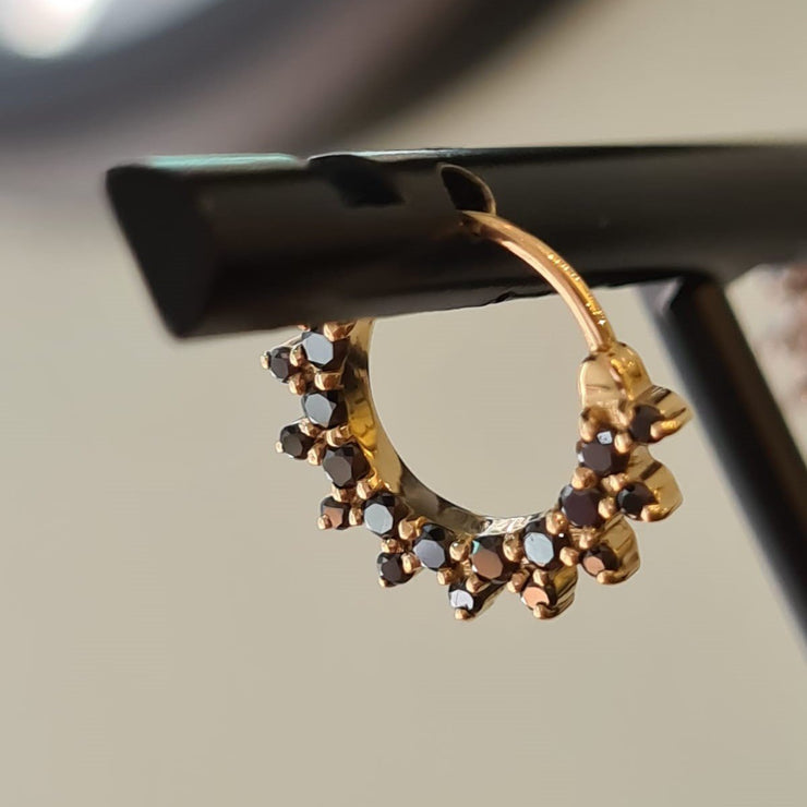 Sunny Hoop Gold Earring with Black Diamonds (Single)