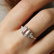 Daphne Ring With Marquise Diamonds and Morganite