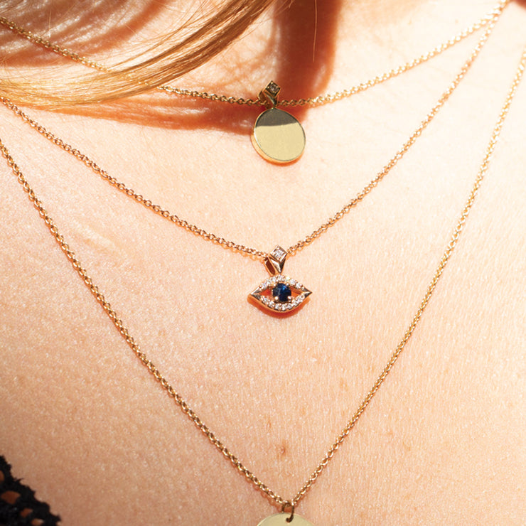 Evil Eye Gold Necklace Sapphire