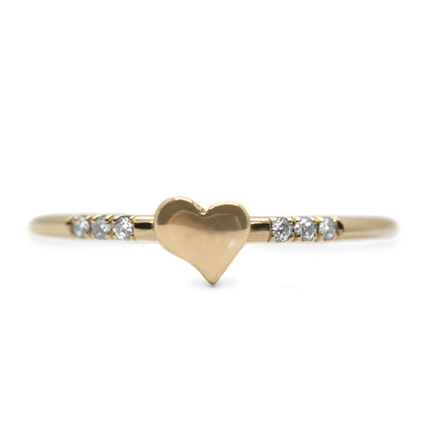 Little Heart Gold Ring Diamond