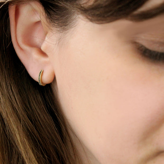 Small Hoop Gold Earring with Black Diamonds (Single)