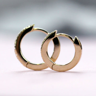 Large Hoop Gold Earring with White Diamonds (Single)