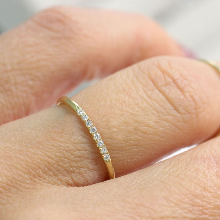 stacking gold ring white diamonds