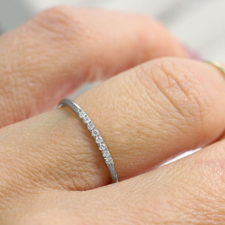 gentle white gold ring with diamonds