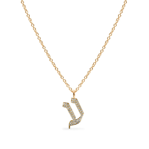 encrusted pendant hebrew letter gold necklace