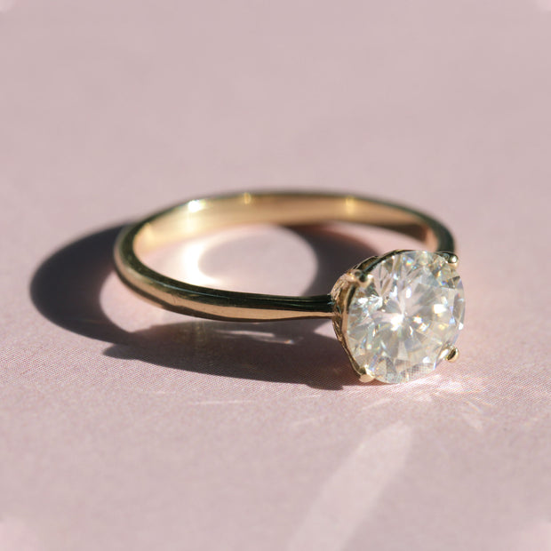 Moon Gold Ring with a Monzonite 7.7 mm