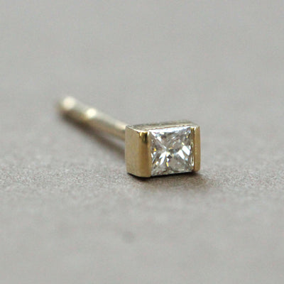 Princess Gold Earring With White Diamond (Single)