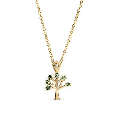 Tree of life Gold Necklace Semi Precious