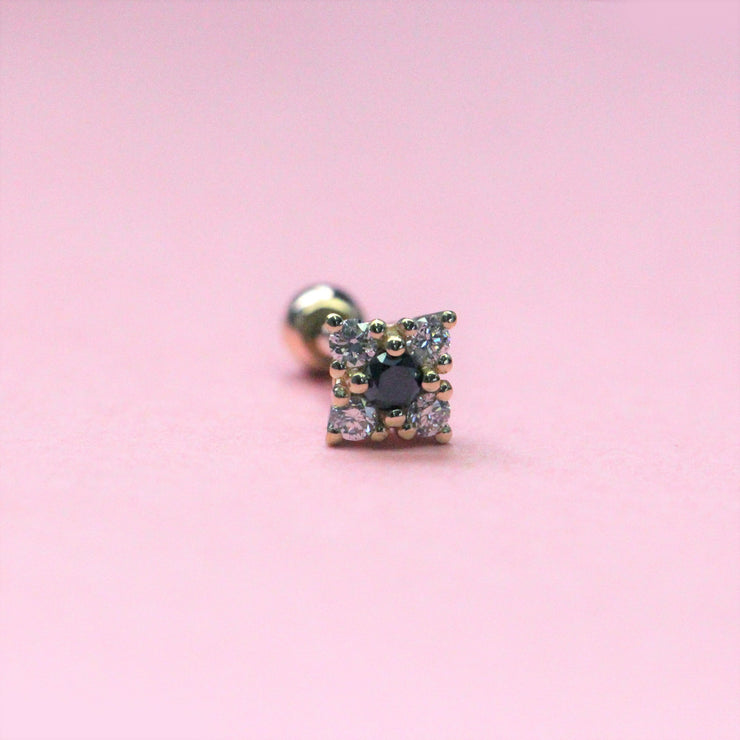 Mini Eliana Piercing Earring With Black and White Diamonds (Single)