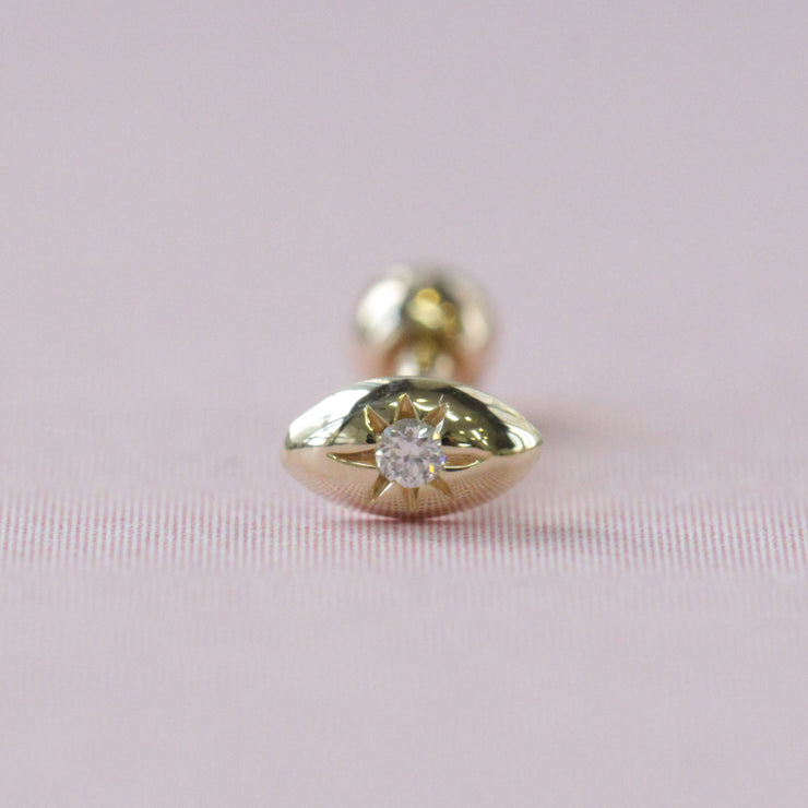 Agatha Piercing Earring With white Diamond (Single)