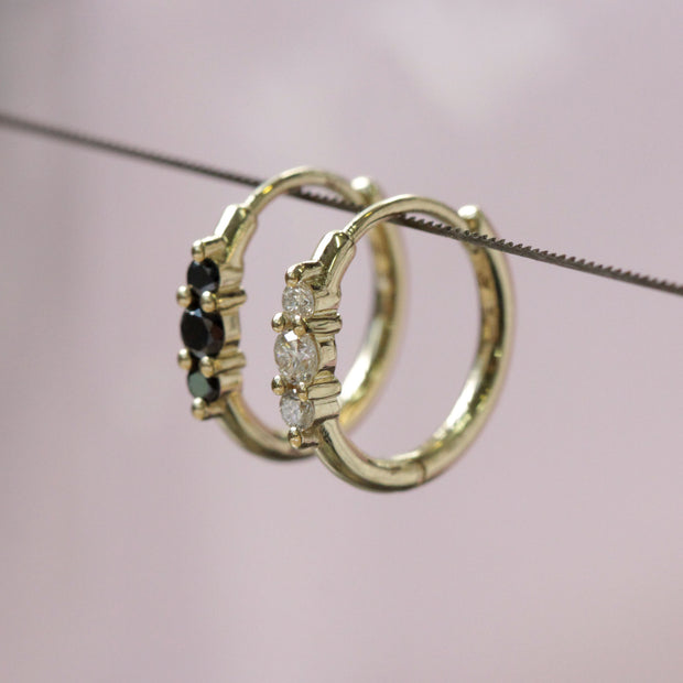 Audrey Hoop Earring with Black Diamonds (Single)