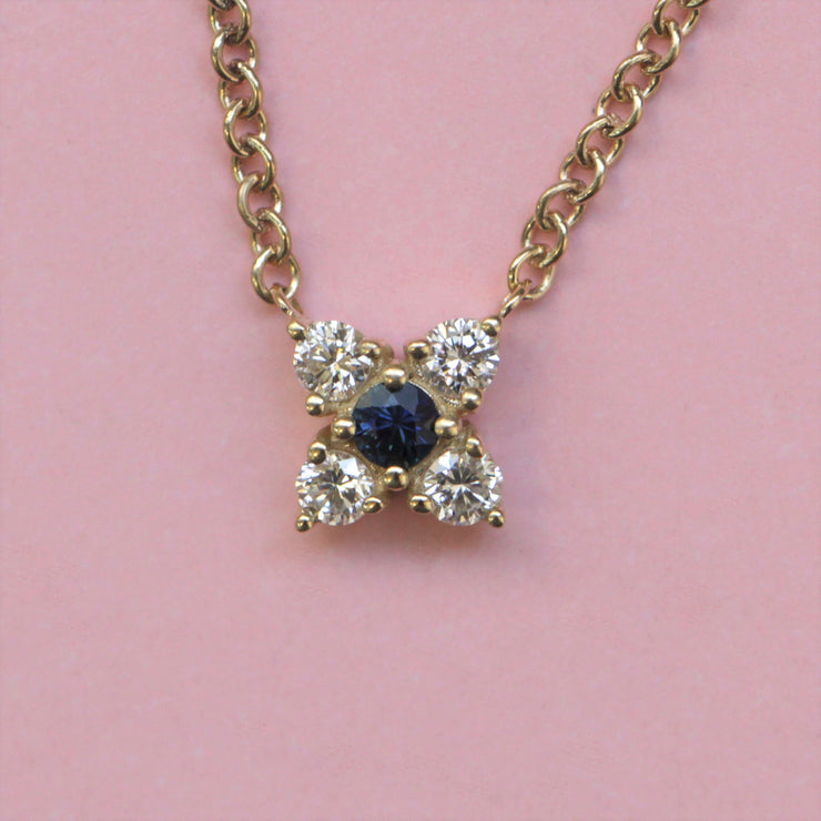 Valentina Gold Necklace White Diamonds & Sapphire