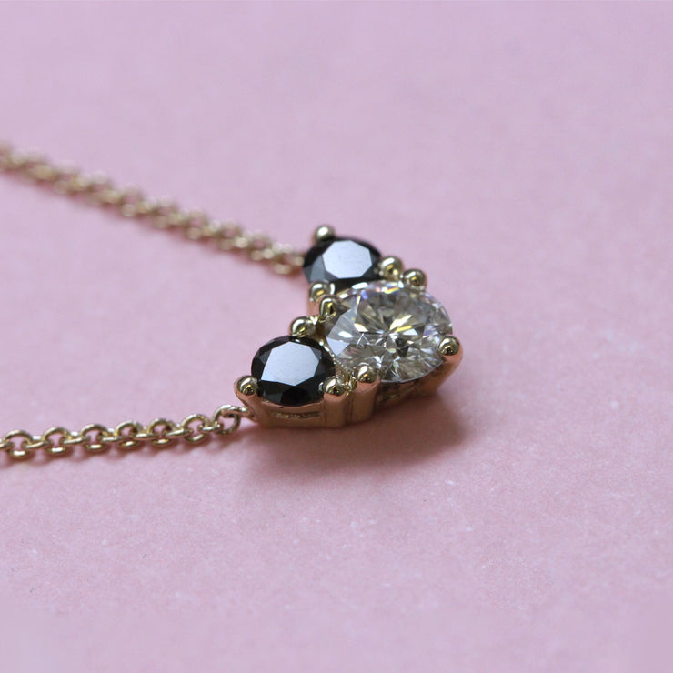 Enlarged Tatiana Gold Necklace Black & White Diamonds