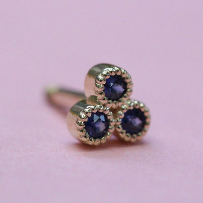 Henrietta Piercing Gold Earring With Sapphires (Single)
