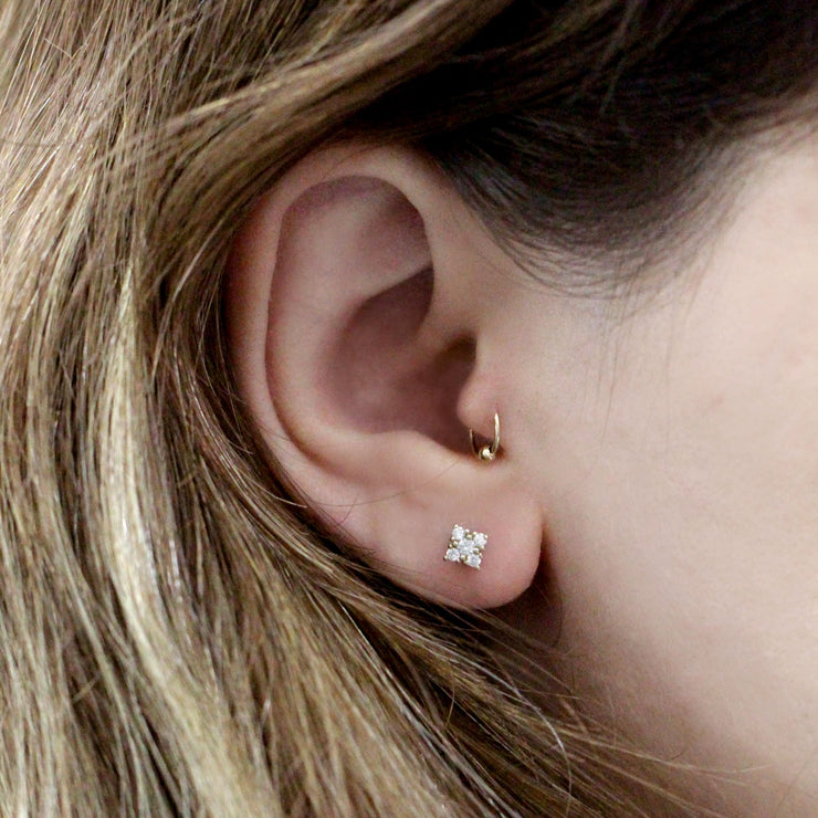 Mini Eliana Piercing Earring With White Diamonds (Single)