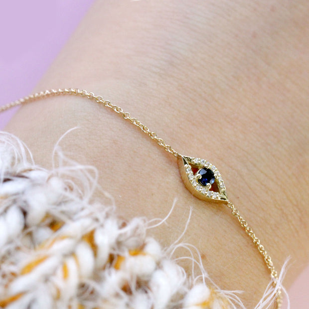 Evil Eye Gold Bracelet Sapphire and Diamonds