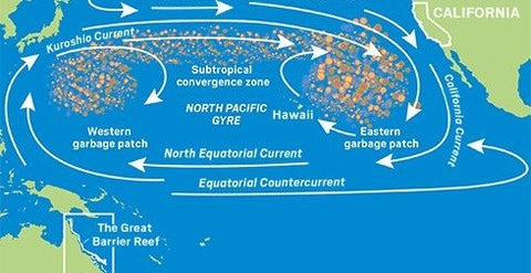 image of water currents, western and eastern rubbish in pacific ocean