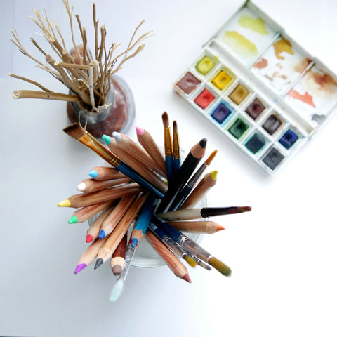 Art supplies and twigs