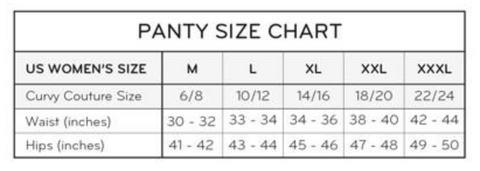 Curvy Couture Panty Size Chart