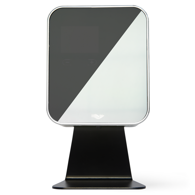 anti Cube Black, 500ml automatic hand sanitiser and soap dispenser. Metal construction with electric sensor and hand icon on mirrored glass front.