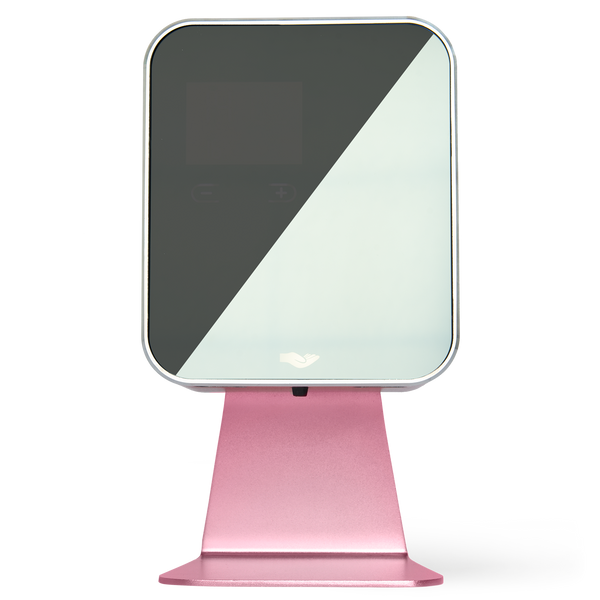 free standing, pink soap and hand sanitiser dispenser with hand icon and glass front.