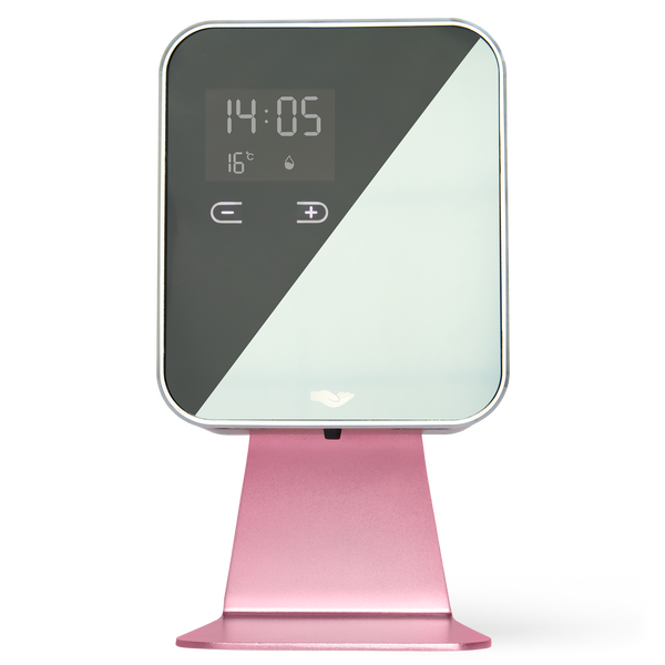 anti Cube Pink, free standing, metal, modern sanitiser dispenser with automatic sensor and soap level indicator. Mirrored glass front with time and temperature displayed.