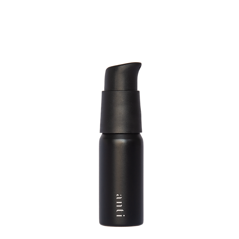 anti Roam black, metal, aluminium travel bottle for use with hand sanitiser. Slim, pocket size with a premium matte black pump.
