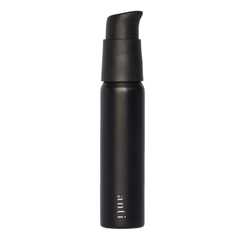 anti Roam black, metal, aluminium travel bottle for use with hand sanitiser. Slim, pocket size with a premium matte finish.
