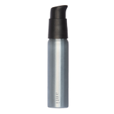 anti Roam silver, metal, aluminium travel bottle for use with hand sanitiser. Slim, pocket size with a premium matte black pump.