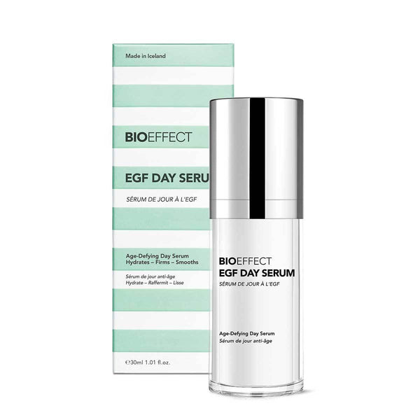 Green and white striped, rectangular-shaped package with a clear bottle of BIOEFFECT Anti-Aging Skincare EGF Daytime Face Serum to the right of the package.