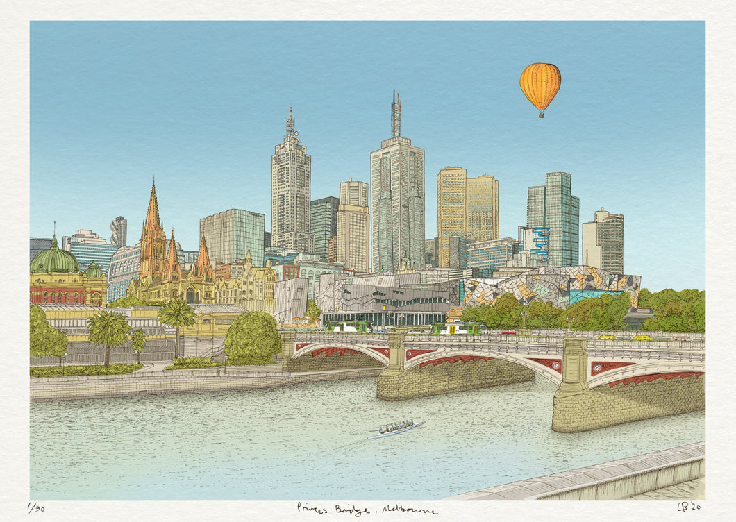 Melbourne Princes Bridge, Colour Print