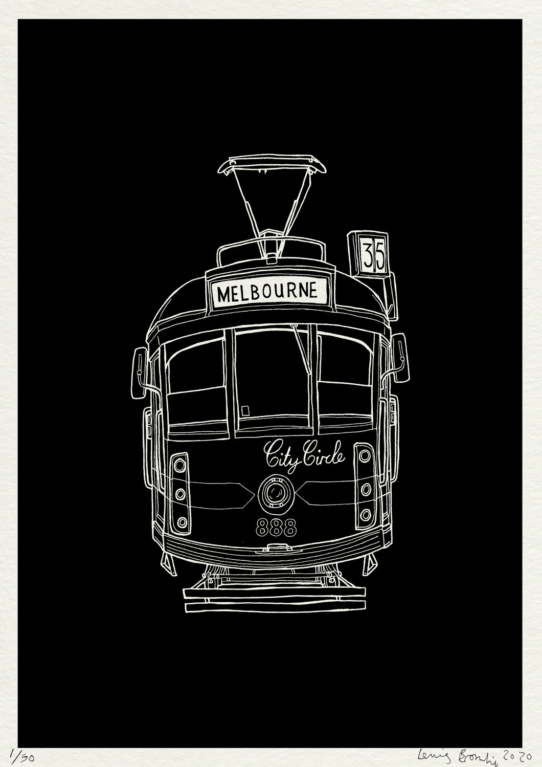 Melbourne Tram Print - Night