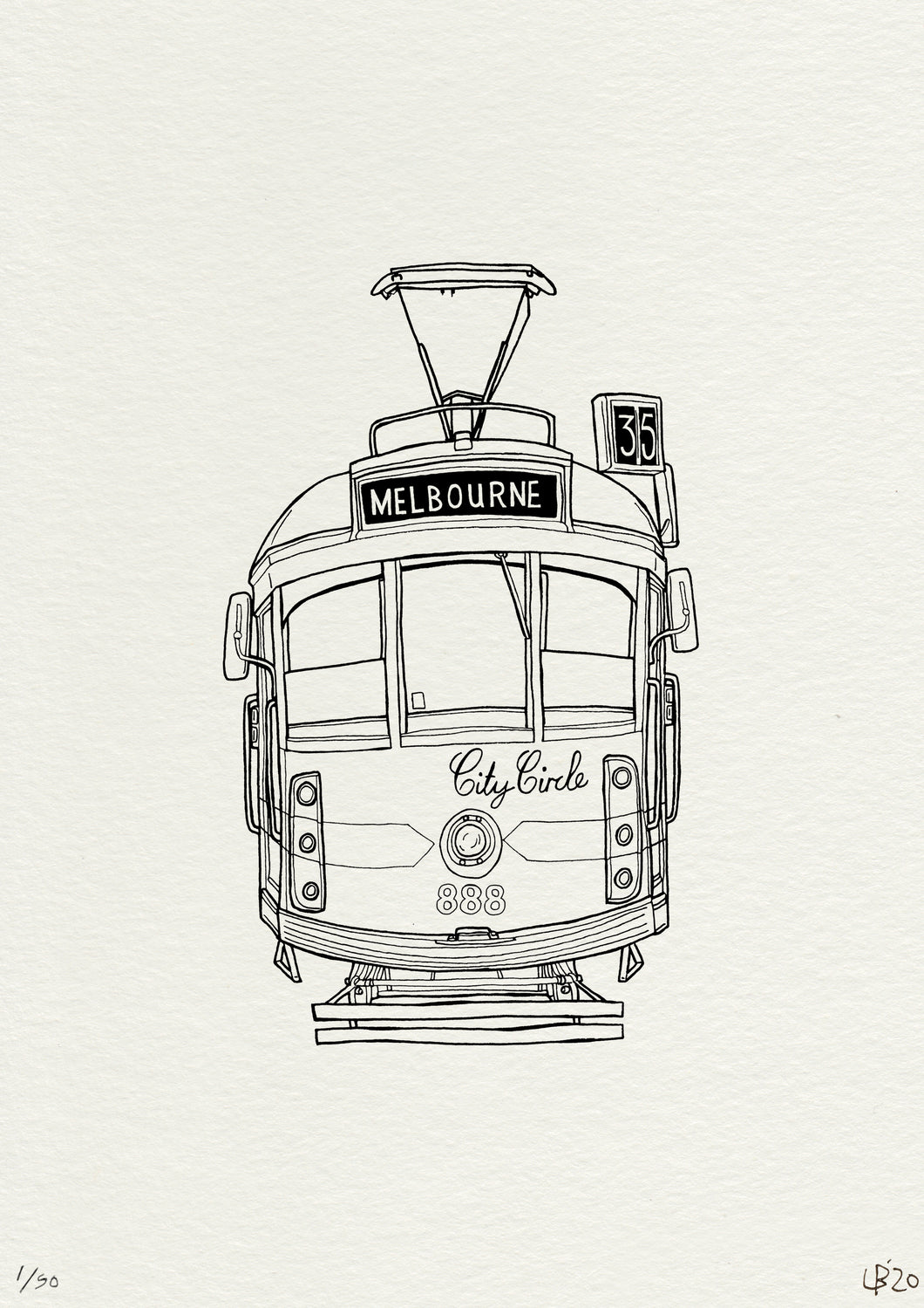 Melbourne Tram Line Drawing Print