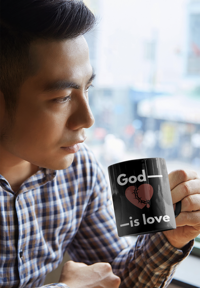 God is Love Black mug 11oz