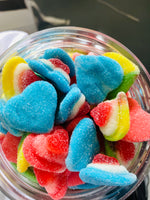 Sugary rainbow hearts
