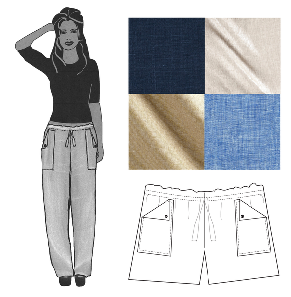 linen fabric and the Oceanside Pants and Shorts sewing pattern from Blank Slate Patterns