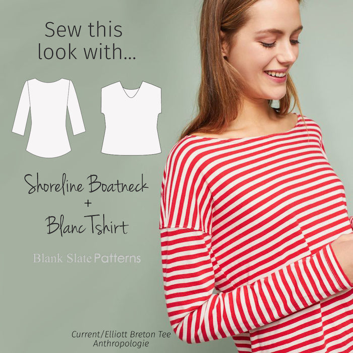 Sew this look with Blank Slate Patterns Shoreline Boatneck and Blanc T-shirt