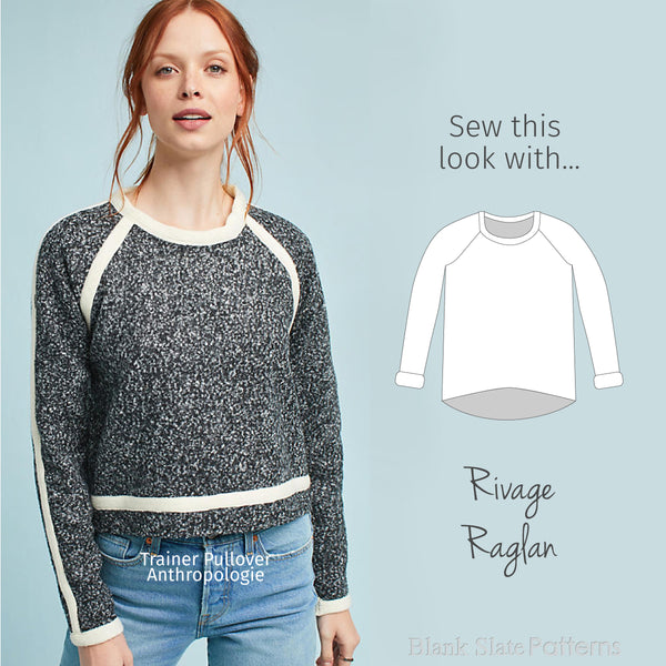 Sew this Anthropologie look with the Rivage Raglan from Blank Slate Patterns