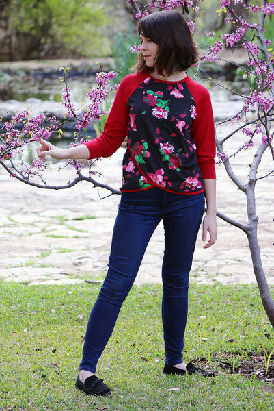 Dixie DIY sewn Tulip Top sweatshirt sewing pattern by Blank Slate Patterns