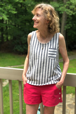 Easy to sew woven tank sewing pattern by Blank Slate Patterns - scoop neck with pocket paired with Garnet Shorts