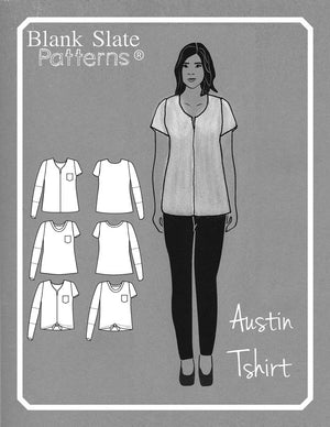 Line Art - Austin T-shirt by Blank Slate Patterns - Tshirt sewing pattern for women with basic round neck, split neck with center seam, 3 sleeve lengths, and tie front tshirt option