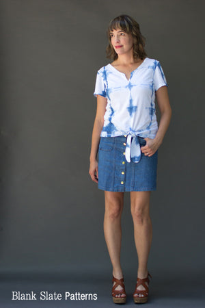 Austin T-shirt by Blank Slate Patterns - Tshirt sewing pattern for women with basic round neck, split neck with center seam, 3 sleeve lengths, and tie front tshirt option