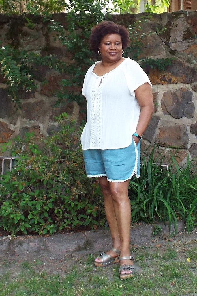 Lace trim - Barton Shorts Sewing Pattern by Blank Slate Patterns. Lace or bias tape trim or simple hem with pockets! 3 inch and 5 inch inseams. Perfect for summer!