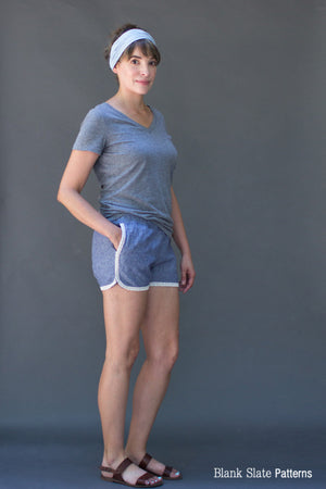 Lace trim version - Barton Shorts Sewing Pattern by Blank Slate Patterns. Lace or bias tape trim or simple hem with pockets! 3 inch and 5 inch inseams. Perfect for summer!