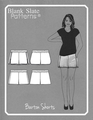 Line drawings - Barton Shorts Sewing Pattern by Blank Slate Patterns. Lace or bias tape trim or simple hem with pockets! 3 inch and 5 inch inseams. Perfect for summer!