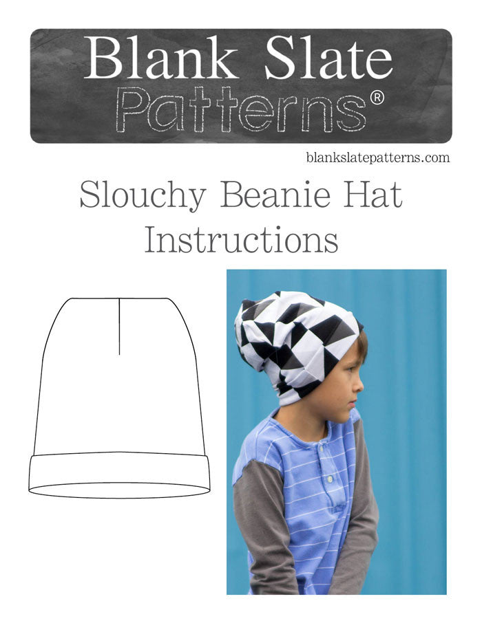 Line Drawing and Cover Image - Blank Slate Patterns Slouchy Beanie Hat Pattern - Sew a stretchy knit hat