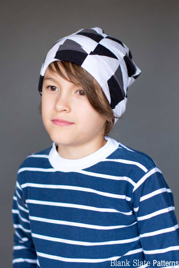 Child Size - Blank Slate Patterns Slouchy Beanie Hat Pattern - Sew a stretchy knit hat