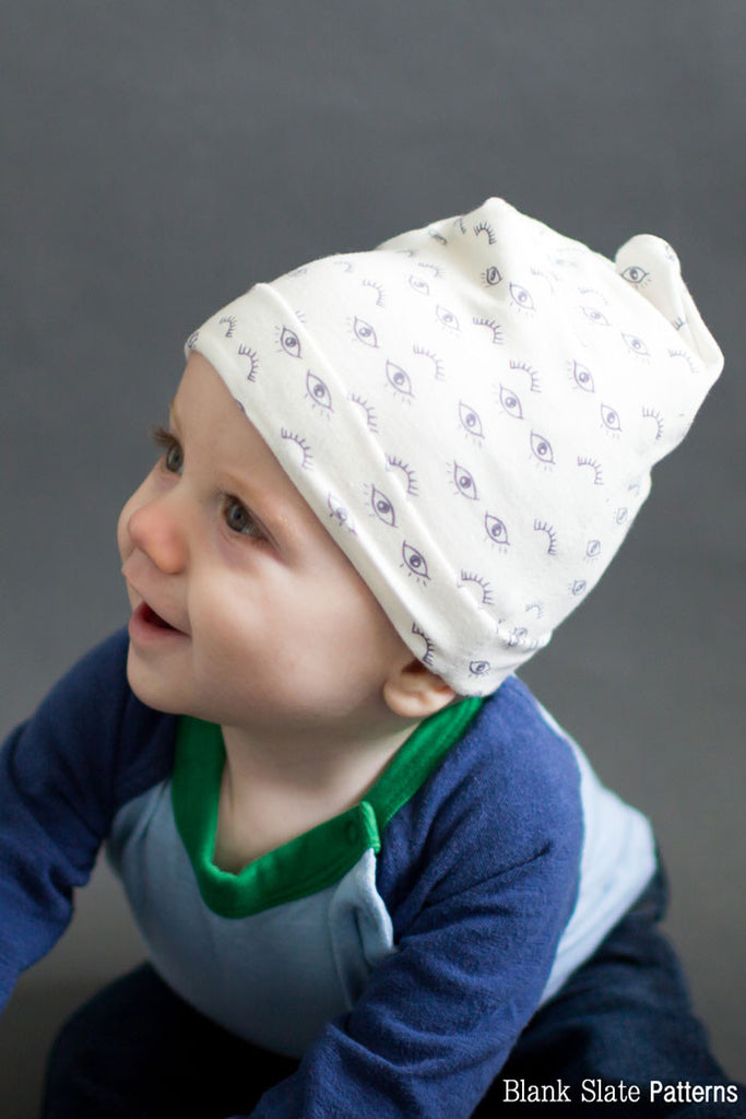 Baby Size - Blank Slate Patterns Slouchy Beanie Hat Pattern - Sew a stretchy knit hat