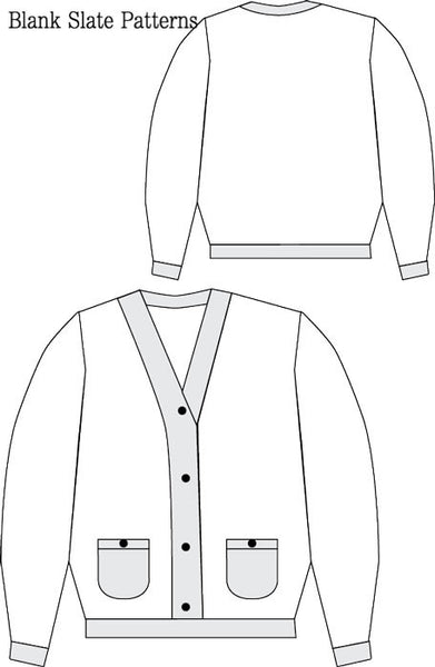 Cool Cardigan pdf sewing pattern from Blank Slate Patterns line drawing
